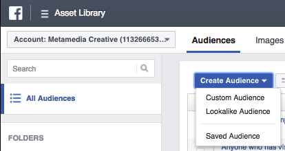 Screenshot of a mouse pointer hovering over a Facebook ads custom audience drop down menu