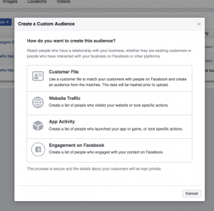 A screenshot of Facebook ads custom audience upload options