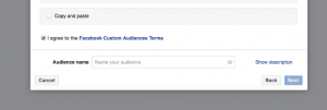 Screenshot of facebook ads custom audience upload screen